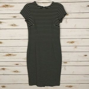 Ann Taylor SP Midi Striped Ponte Sheath Dress